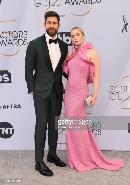 John Krasinski and Emily Blunt attend the 25th Annual Screen Actors Guild Awards at The Shrine Auditorium on January 27, 2019 in Los Angeles,...