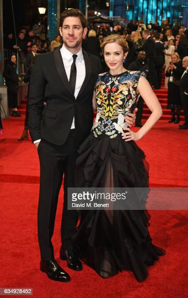 John Krasinski and Emily Blunt attend the 70th EE British Academy Film Awards at Royal Albert Hall on February 12 2017 in London England