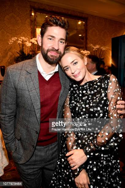 John Krasinski and Emily Blunt attend The BAFTA Los Angeles Tea Party at Four Seasons Hotel Los Angeles at Beverly Hills on January 5 2019 in Los...