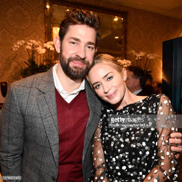John Krasinski and Emily Blunt attend The BAFTA Los Angeles Tea Party at Four Seasons Hotel Los Angeles at Beverly Hills on January 5, 2019 in Los...
