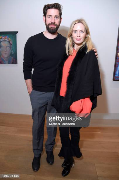 """John Krasinski and Emily Blunt attend the """"Final Portrait"""" New York Screening After Party at Levy Gorvy Gallery on March 22, 2018 in New York City."""