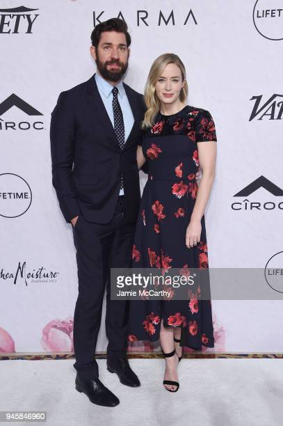 John Krasinski and Emily Blunt attend Variety's Power of Women New York at Cipriani Wall Street on April 13 2018 in New York City