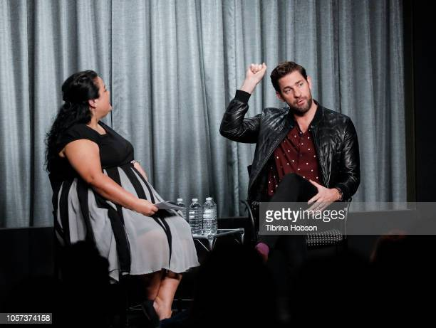 John Krasinski and Jenelle Riley attend SAGAFTRA Foundation Conversations Career Retrospective at SAGAFTRA Foundation Screening Room on November 4...