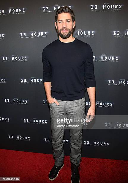 John Krasinski attends Miami Special Screening of '13 Hours The Secret Soldiers of Benghazi' at Aventura Mall on January 7 2016 in Miami Florida