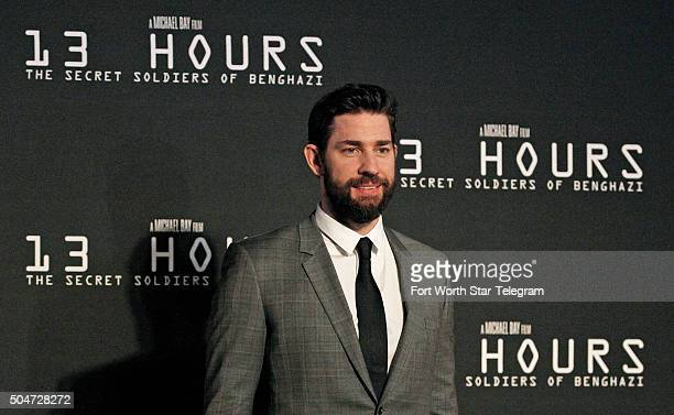 John Krasinski attends the premiere of '13 Hours The Secret Soldiers of Benghazi' at ATT Stadium in Arlington Texas on Tuesday Jan 12 2016