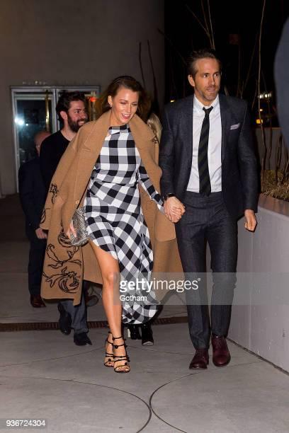 John Krasinski Blake Lively and Ryan Reynolds are seen in the Upper East Side on March 22 2018 in New York City
