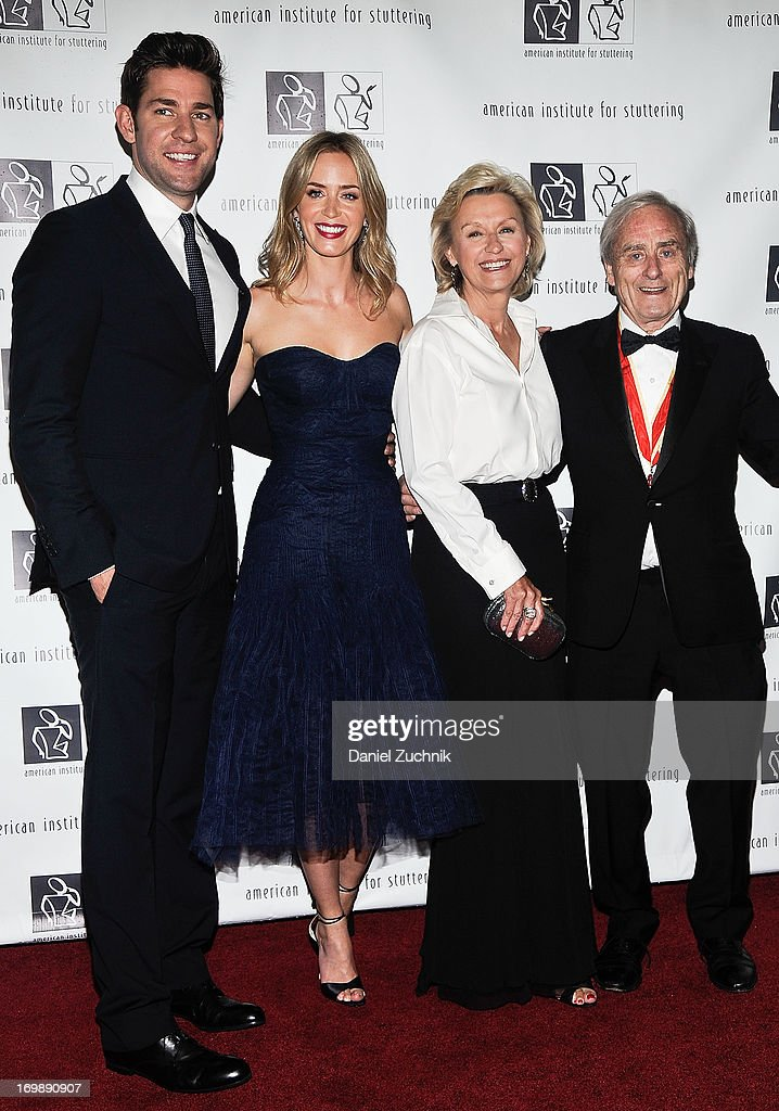 John Krasinski, Emily Blunt, Tina Brown and Sir Harold Evans attend the 7th Annual 'Freeing Voices, Changing Lives' Benefit Gala at Tribeca Rooftop on June 3, 2013 in New York City.