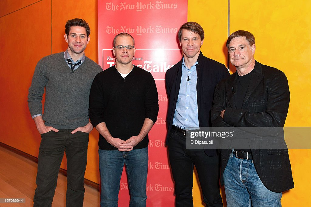 John Krasinski, Matt Damon, Hugo Lindgren and Gus Van Sant attend TimesTalks presents An Evening With Matt Damon & Gus Van Sant at The Times Center on November 27, 2012 in New York City.