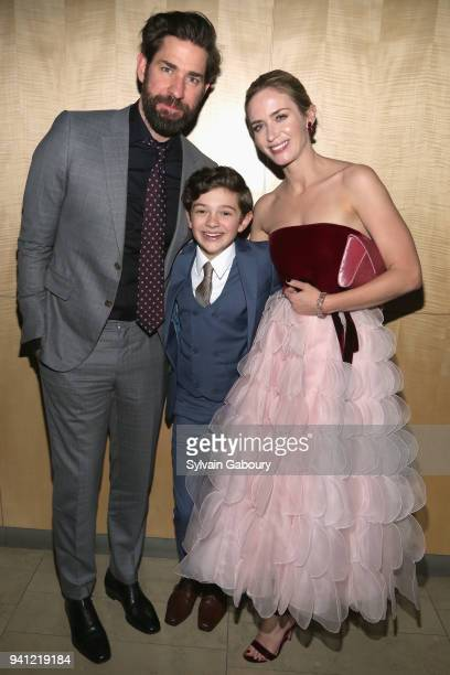 John Krasinski Noah Jupe and Emily Blunt attend A Quiet Place New York Premiere After Party on April 2 2018 in New York City