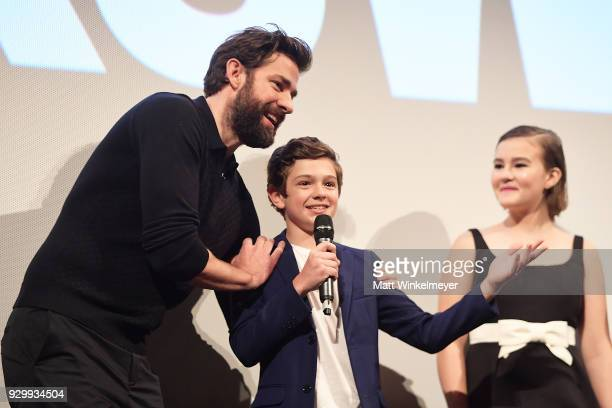 John Krasinski Noah Jupe and Millicent Simmonds attend the A Quiet Place Premiere 2018 SXSW Conference and Festivals at Paramount Theatre on March 9...