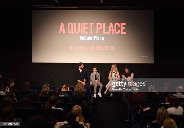 John Krasinski Noah Jupe Emily Blunt and host Rhianna Dhillon take part in the QA on stage at an immersive VIP Fan Screening of 'A Quiet Place' on...