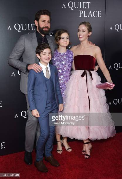 John Krasinski Noah Jupe Millicent Simmonds and Emily Blunt attend the premiere for 'A Quiet Place' at AMC Lincoln Square Theater on April 2 2018 in...
