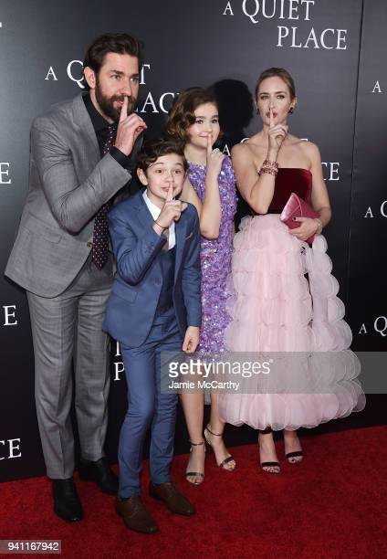 John Krasinski Noah Jupe Millicent Simmonds and Emily Blunt attend the premiere for A Quiet Place at AMC Lincoln Square Theater on April 2 2018 in...