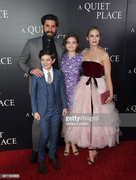 John Krasinski Noah Jupe Millicent Simmonds and Emily Blunt attend the Paramount Pictures premiere for 'A Quiet Place' at AMC Lincoln Square Theater...