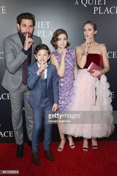 John Krasinski Noah Jupe Millicent Simmonds and Emily Blunt attend New York Premiere of A Quiet Place on April 2 2018 in New York City