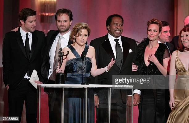 John Krasinski, Rainn Wilson, Jenna Fischer, Leslie David Baker, Melora Hardin, Steve Carell and Kate Flannery accept the Outstanding Performance by...