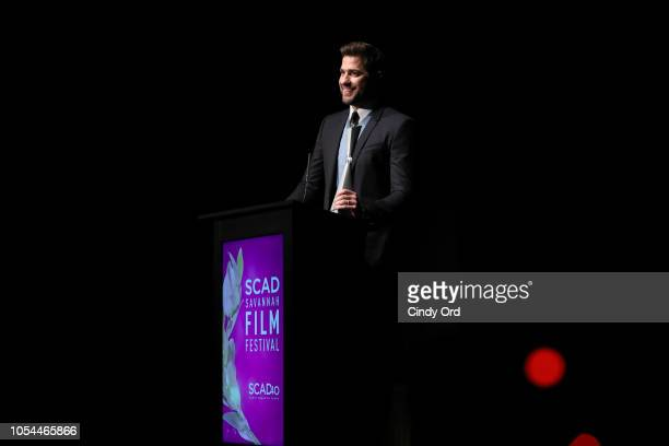 "John Krasinski speaks onstage during the ""A Quiet Place"" award presentation and screening at the 21st SCAD Savannah Film Festival on October 27, 2018..."