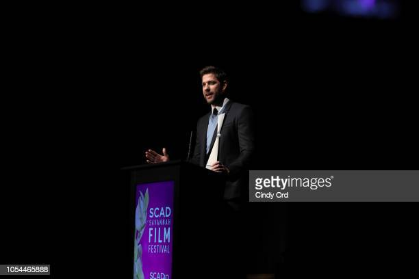 John Krasinski speaks onstage during the 'A Quiet Place' award presentation and screening at the 21st SCAD Savannah Film Festival on October 27 2018...