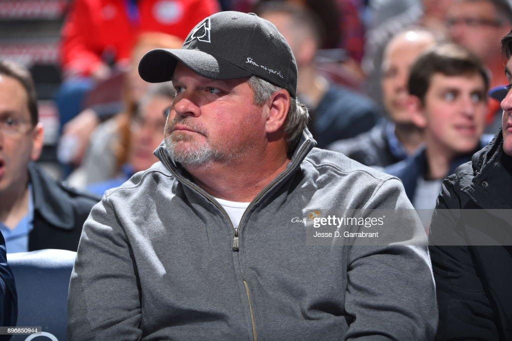 John Kruk former member of the Philadelphia Phillies takes in a Philadelphia 76ers against the Toronto Raptors at Wells Fargo Center on December 21, 2017 in Philadelphia, Pennsylvania