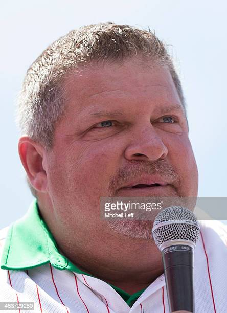 John Kruk formerly of the Philadelphia Phillies takes part in an interview prior to the game against the Atlanta Braves on August 2 2015 at the...
