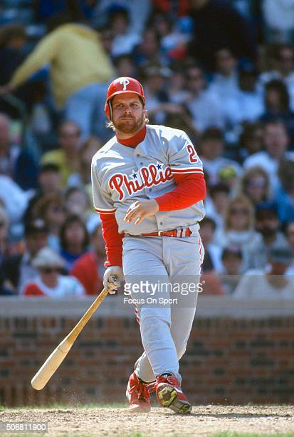 John Kruk of the Philadelphia Phillies bats against the Chicago Cubs during a Major League Baseball game circa 1992 at Wrigley Field in Chicago...