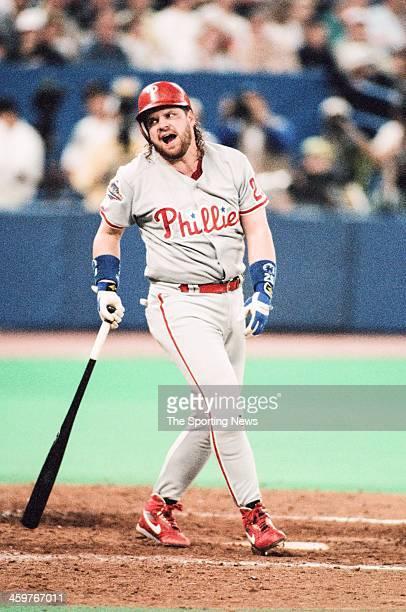 John Kruk of the Philadelphia Phillies bats during a 1993 World Series game against the Toronto Blue Jays