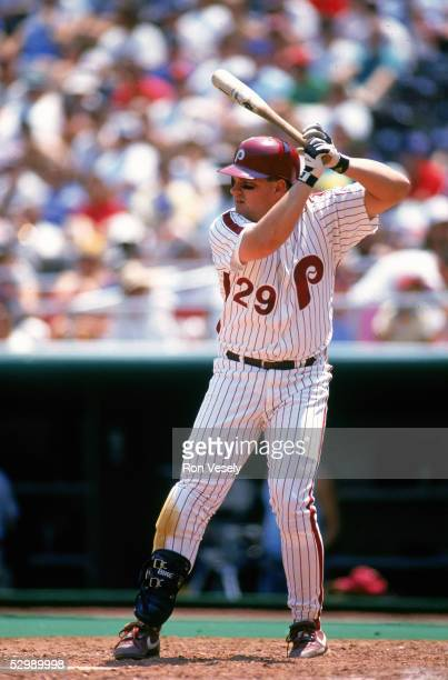 John Kruk of the Philadelphia Phillies bats during a game in the circa 1989 season Kruk played for the Phillies from 198994