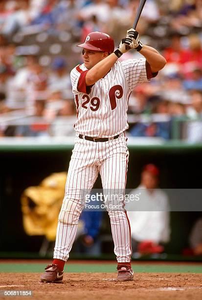John Kruk of the Philadelphia Phillies bats during a Major League Baseball game circa 1990 at Veterans Stadium in Philadelphia Pennsylvania Kruk...