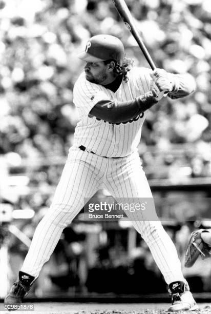 John Kruk of the Philadelphia Phillies bats during an MLB game circa 1993 at Veterans Stadium in Philadelphia Pennsylvania