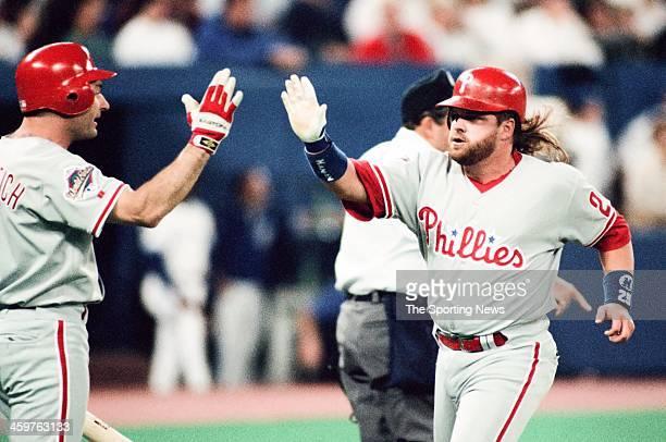 John Kruk of the Philadelphia Phillies runs the bases during a 1993 World Series game against the Toronto Blue Jays