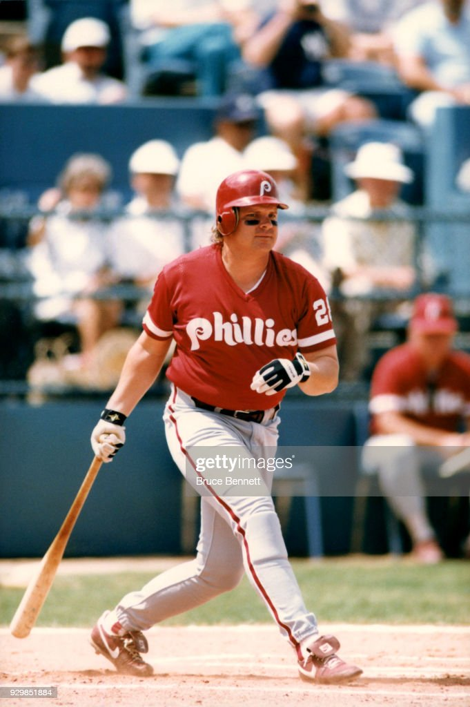 John Kruk #29 of the Philadelphia Phillies swings at the pitch during MLB Spring Training circa March, 1992 in Clearwater, Florida.