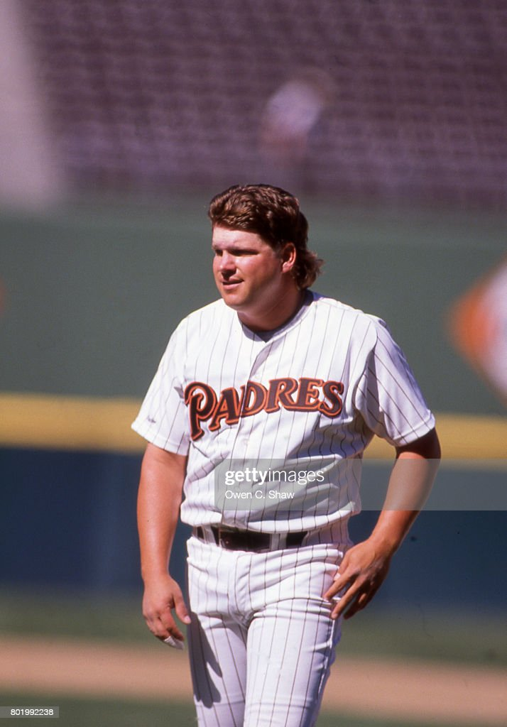 John Kruk of the San Diego Padres at Jack Murphy Stadium circa 1986 in San Diego, California.