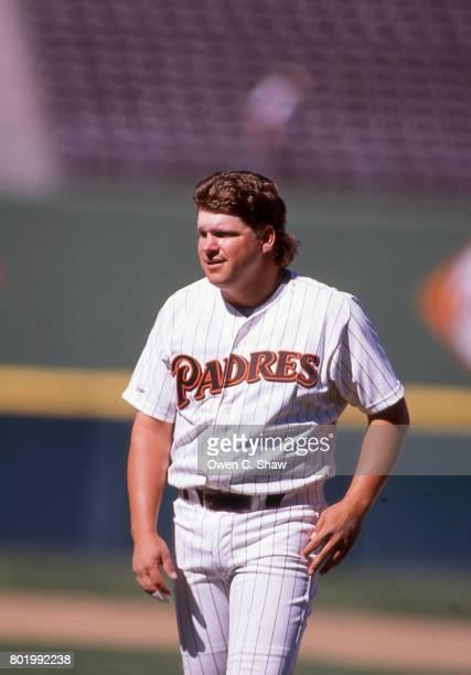 John Kruk of the San Diego Padres at Jack Murphy Stadium circa 1986 in San Diego California
