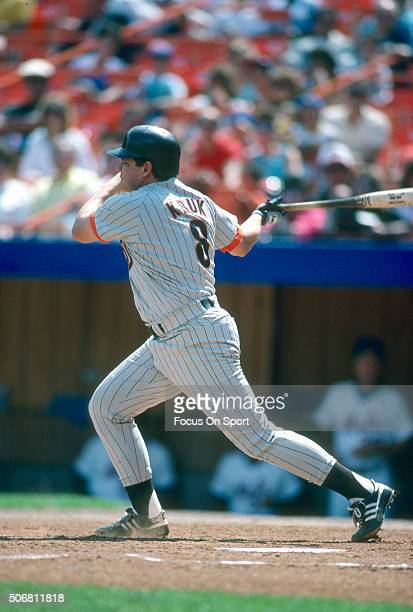 John Kruk of the San Diego Padres bats against the New York Mets during a Major League Baseball game circa 1988 at Shea Stadium in the Queens borough...