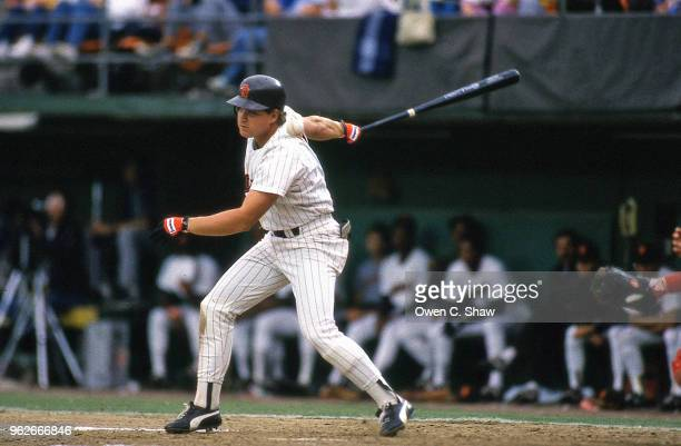 John Kruk of the San Diego Padres bats at Jack Murphy Stadium circa 1987 in San Diego California