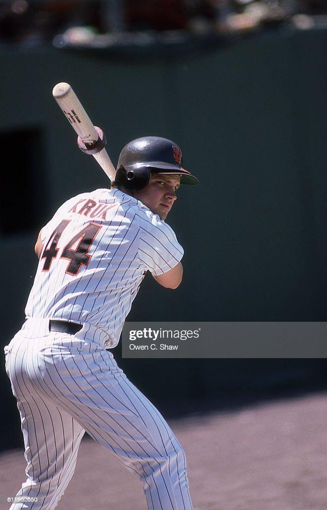 John Kruk of the San Diego Padres circa 1987 gets ready to bat at Jack Murphy Stadium in San Diego, California.