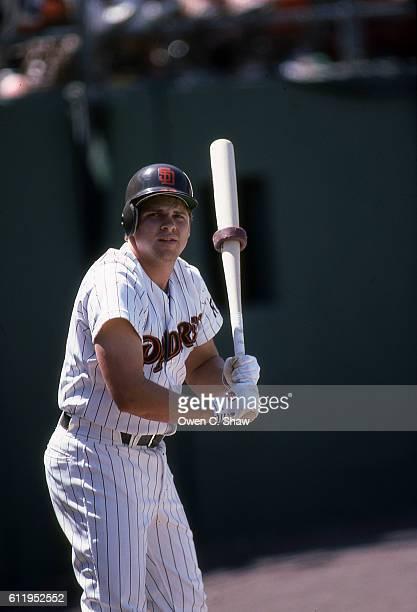 John Kruk of the San Diego Padres circa 1987 prepares to bat at Jack Murphy Stadium in San Diego California