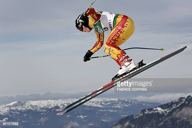 John Kucera of Canada airbornes over the Russi jump during the Lauberhorn men's ski World Cup downhill practice 11 January 2007 in Wengen AFP PHOTO /...