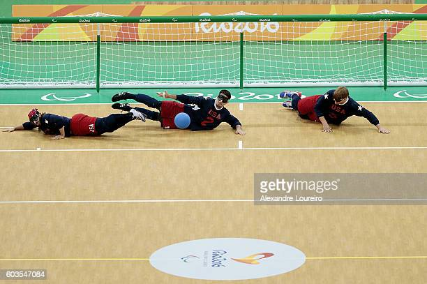 John Kusku, Tyler Merren and Joseph Hamilton of United States in action during Goalball - Men's Preliminary - Group B match between United States and...