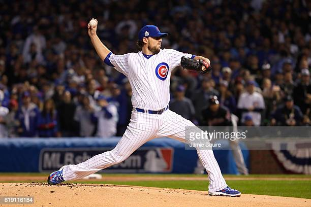 John Lackey of the Chicago Cubs pitches in the first inning against the Cleveland Indians in Game Four of the 2016 World Series at Wrigley Field on...