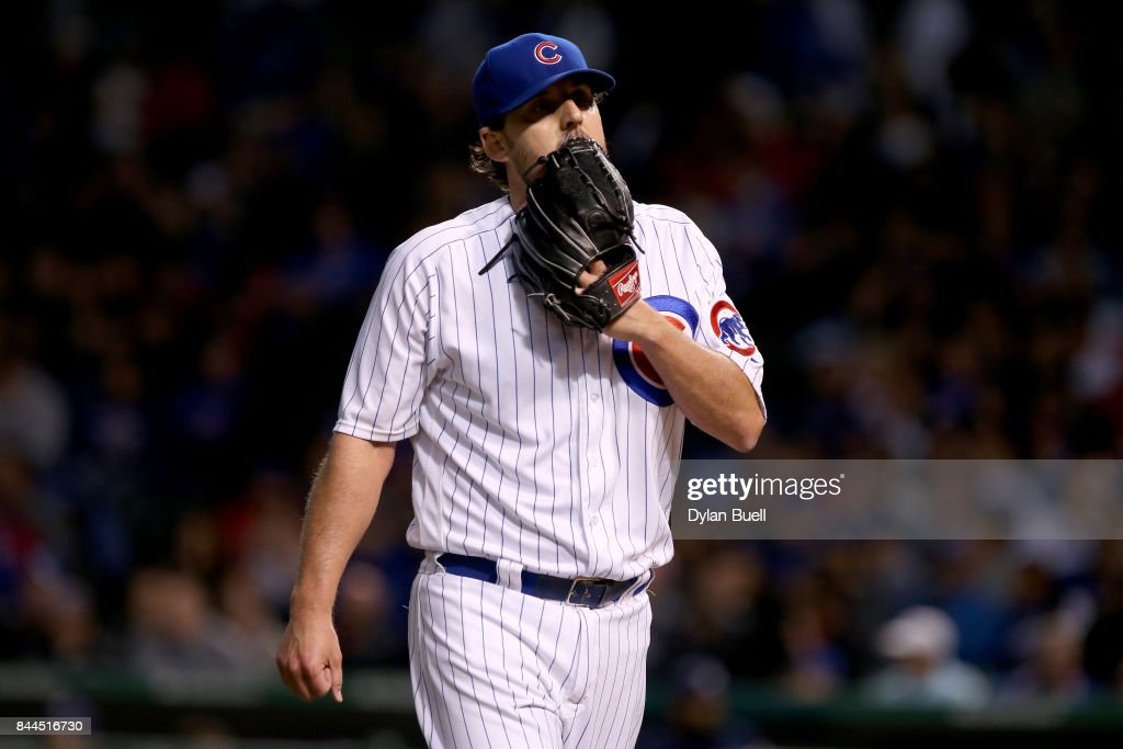 John Lackey #41 of the Chicago Cubs walks off the field in the first inning against the Milwaukee Brewers at Wrigley Field on September 8, 2017 in Chicago, Illinois.