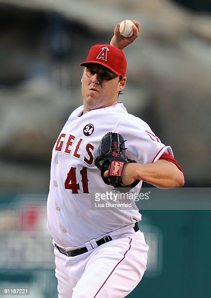 John Lackey of the Los Angeles Angels of Anaheim pitches against the Oakland Athletics at Angel Stadium of Anaheim on September 26 2009 in Anaheim...