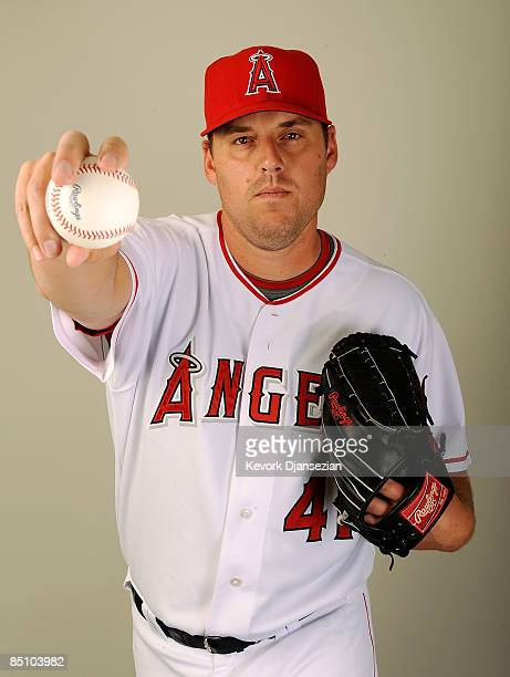 John Lackey of the Los Angeles Angels of Anaheim poses during photo day at Tempe Diablo Stadium on February 25 2009 in Tempe Arizona