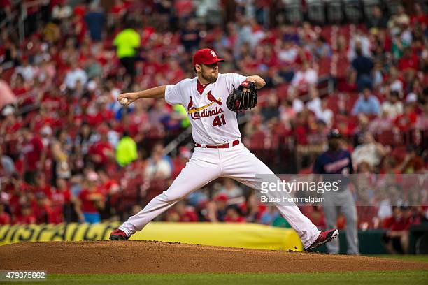 John Lackey of the St Louis Cardinals pitches against the Minnesota Twins on June 15 2015 at Busch Stadium in St Louis Missouri The Cardinals...