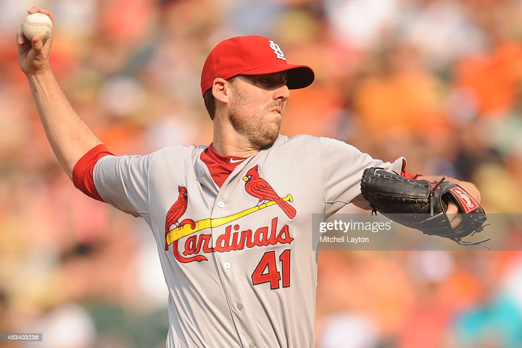 John Lackey #41 of the St. Louis Cardinals pitches in the second inning during a baseball game against the St. Louis Cardinals on August 9, 2014 at Oriole Park at Camden Yards in Baltimore, Maryland.