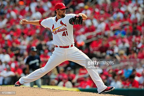 John Lackey of the St Louis Cardinals throws to a Milwaukee Brewers batter at Busch Stadium on April 16 2015 in St Louis Missouri