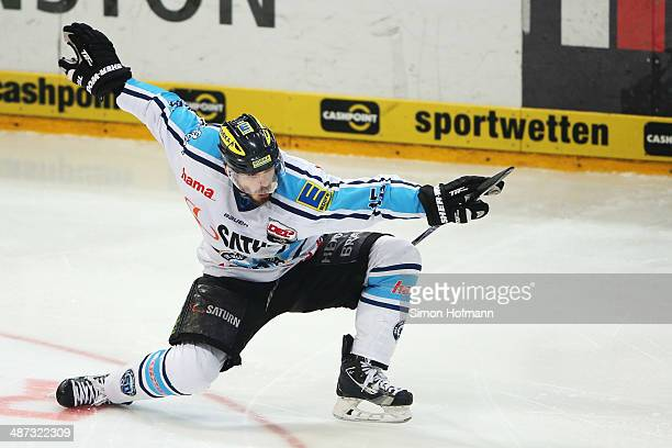 John Laliberte of Ingolstadt celebrates his team's second goal during game seven of the DEL final playoffs between Koelner Haie and ERC Ingolstadt at...