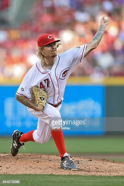 John Lamb of the Cincinnati Reds pitches against the Chicago Cubs at Great American Ball Park on June 28 2016 in Cincinnati Ohio