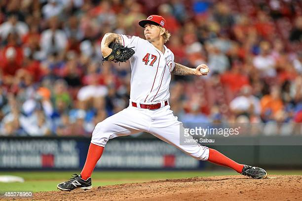 John Lamb of the Cincinnati Reds pitches against the Los Angeles Dodgers at Great American Ball Park on August 25 2015 in Cincinnati Ohio