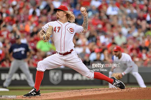John Lamb of the Cincinnati Reds pitches against the Milwaukee Brewers at Great American Ball Park on July16 2016 in Cincinnati Ohio